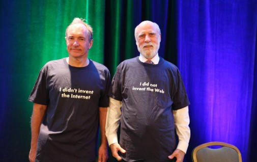 As t-shirts about the WWW & Net go, these, worn by @timberners_lee @vgcerf, are epic. HT @W3C #netgain -- @digiphile